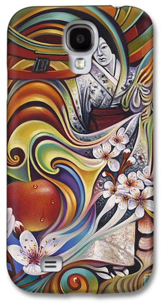 Cherry Blossoms Paintings Galaxy S4 Cases - Dynamic Blossoms Galaxy S4 Case by Ricardo Chavez-Mendez
