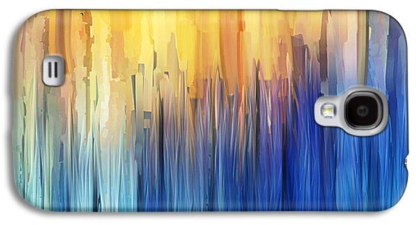 Blue Abstracts Galaxy S4 Cases - Each Day Anew Galaxy S4 Case by Lourry Legarde