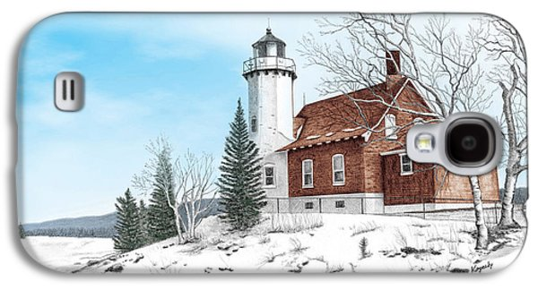Eagle Harbor Lighthouse Titled Galaxy S4 Case by Darren Kopecky
