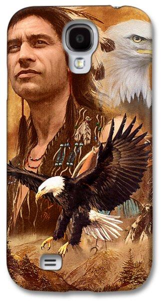 Native American Spirit Portrait Galaxy S4 Cases - Eagle Montage Galaxy S4 Case by Garry Walton