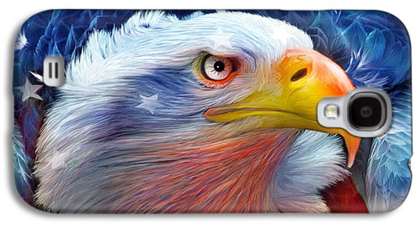 Eagle Mixed Media Galaxy S4 Cases - Eagle Red White Blue Galaxy S4 Case by Carol Cavalaris