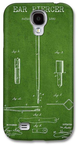 Ears Digital Art Galaxy S4 Cases - Ear Piercer Patent From 1880 - Green Galaxy S4 Case by Aged Pixel