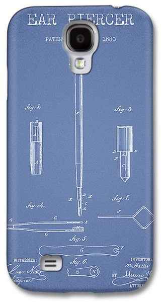 Ears Digital Art Galaxy S4 Cases - Ear Piercer Patent From 1880 - light blue Galaxy S4 Case by Aged Pixel