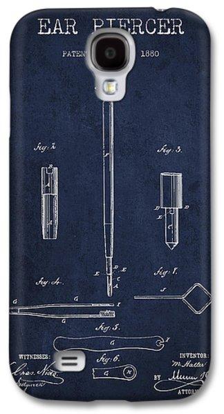 Ears Digital Art Galaxy S4 Cases - Ear Piercer Patent From 1880 - Navy Blue Galaxy S4 Case by Aged Pixel