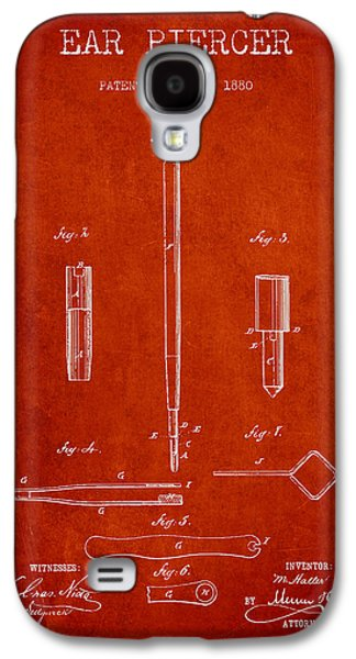 Ears Digital Art Galaxy S4 Cases - Ear Piercer Patent From 1880 - Red Galaxy S4 Case by Aged Pixel