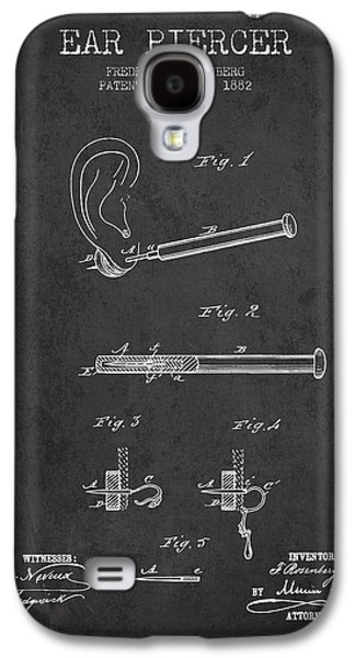 Ears Digital Art Galaxy S4 Cases - Ear Piercer Patent From 1882 - Charcoal Galaxy S4 Case by Aged Pixel
