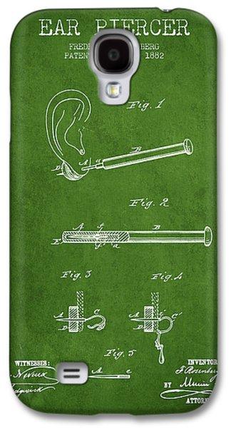 Ears Digital Art Galaxy S4 Cases - Ear Piercer Patent From 1882 - Green Galaxy S4 Case by Aged Pixel