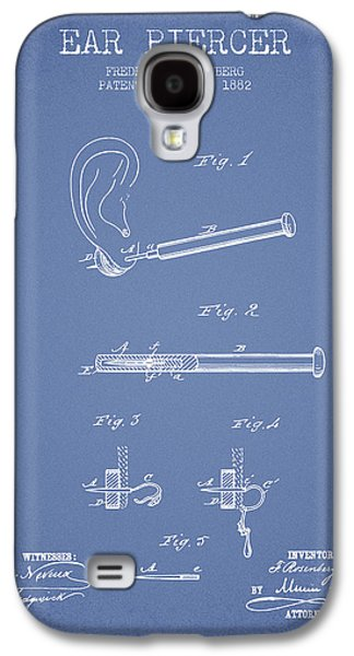 Ears Digital Art Galaxy S4 Cases - Ear Piercer Patent From 1882 - Light Blue Galaxy S4 Case by Aged Pixel