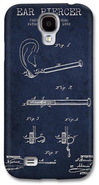 Ears Digital Art Galaxy S4 Cases - Ear Piercer Patent From 1882 - Navy Blue Galaxy S4 Case by Aged Pixel