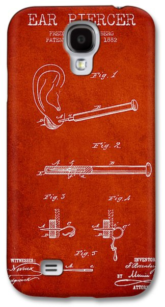 Ears Digital Art Galaxy S4 Cases - Ear Piercer Patent From 1882 - Red Galaxy S4 Case by Aged Pixel