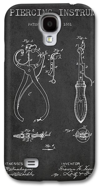 Ears Digital Art Galaxy S4 Cases - Ear Piercing Instrument Patent From 1881 - Charcoal Galaxy S4 Case by Aged Pixel