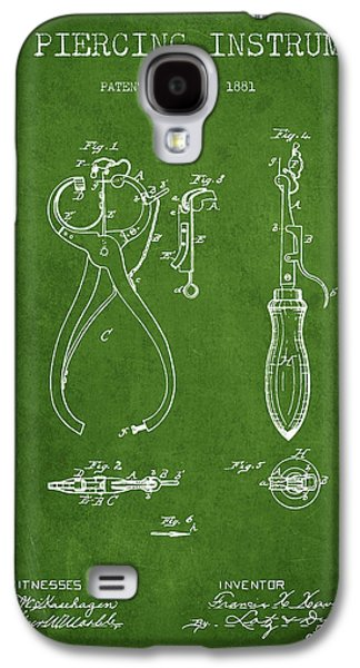 Ears Digital Art Galaxy S4 Cases - Ear Piercing Instrument Patent From 1881 - Green Galaxy S4 Case by Aged Pixel