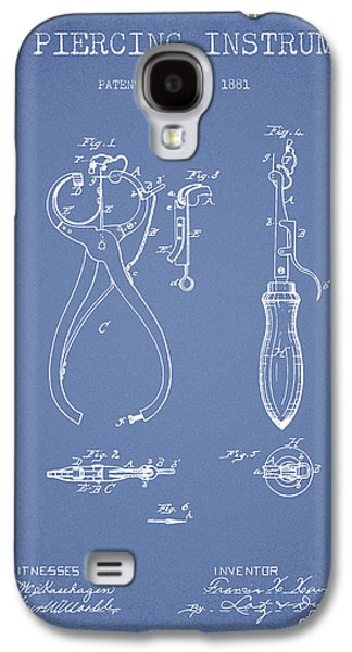 Ears Digital Art Galaxy S4 Cases - Ear Piercing Instrument Patent From 1881 - Light Blue Galaxy S4 Case by Aged Pixel