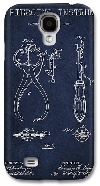 Ears Digital Art Galaxy S4 Cases - Ear Piercing Instrument Patent From 1881 - Navy Blue Galaxy S4 Case by Aged Pixel