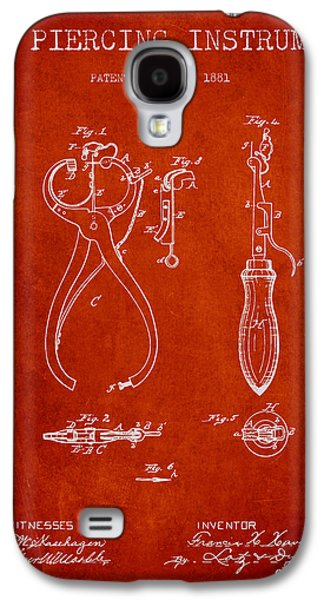 Ears Digital Art Galaxy S4 Cases - Ear Piercing Instrument Patent From 1881 - Red Galaxy S4 Case by Aged Pixel