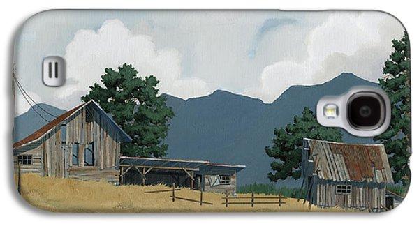 Barn Paintings Galaxy S4 Cases - Early Bigfork Farmstead Galaxy S4 Case by John Wyckoff