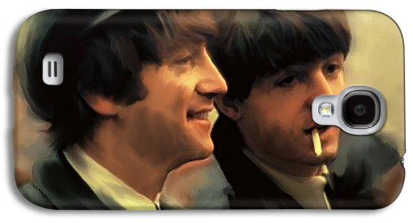 Beatles Drawings Galaxy S4 Cases - Early Days II John Lennon and Paul McCartney Galaxy S4 Case by Iconic Images Art Gallery David Pucciarelli