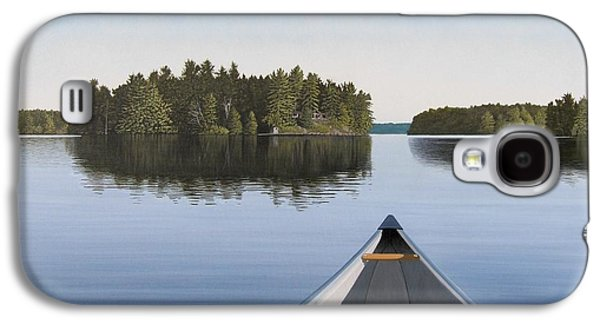 Country Paintings Galaxy S4 Cases - Early Evening Paddle  Galaxy S4 Case by Kenneth M  Kirsch