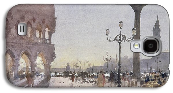 San Marco Galaxy S4 Cases - Early Morning, Piazzetta, Venice, 1989 Wc On Paper Galaxy S4 Case by Trevor Chamberlain