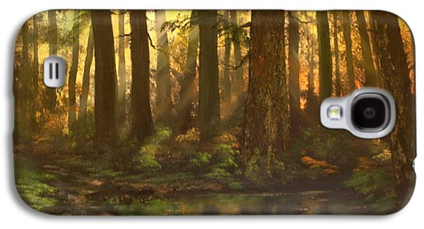 Headstones Paintings Galaxy S4 Cases - Early Morning Sun on Cannock Chase Galaxy S4 Case by Jean Walker
