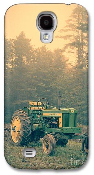 Plow Galaxy S4 Cases - Early morning tractor in farm field Galaxy S4 Case by Edward Fielding