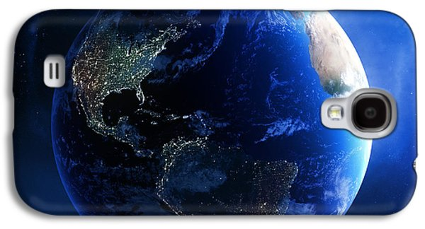 Field Digital Art Galaxy S4 Cases - Earth and galaxy with city lights Galaxy S4 Case by Johan Swanepoel