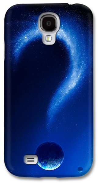Graphic Photographs Galaxy S4 Cases - Earth and question mark from stars Galaxy S4 Case by Johan Swanepoel
