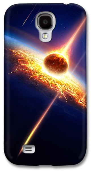 Earth Galaxy S4 Cases - Earth in a  meteor shower Galaxy S4 Case by Johan Swanepoel
