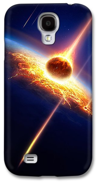 Exploding Galaxy S4 Cases - Earth in a  meteor shower Galaxy S4 Case by Johan Swanepoel