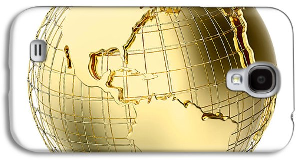 Earth Galaxy S4 Cases - Earth in Gold Metal isolated on white Galaxy S4 Case by Johan Swanepoel