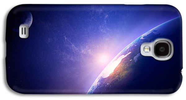 Earth Galaxy S4 Cases - Earth sunrise in foggy space Galaxy S4 Case by Johan Swanepoel