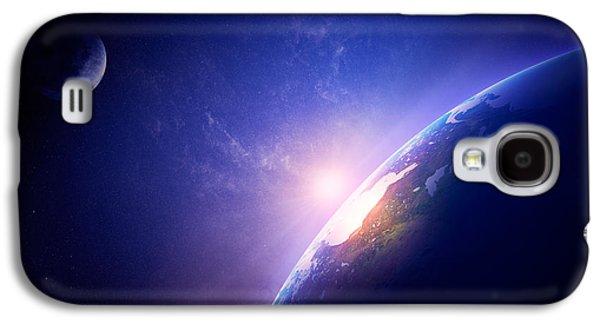 North Digital Galaxy S4 Cases - Earth sunrise in foggy space Galaxy S4 Case by Johan Swanepoel