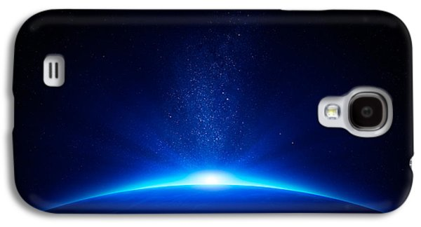 Earth Galaxy S4 Cases - Earth sunrise in space Galaxy S4 Case by Johan Swanepoel