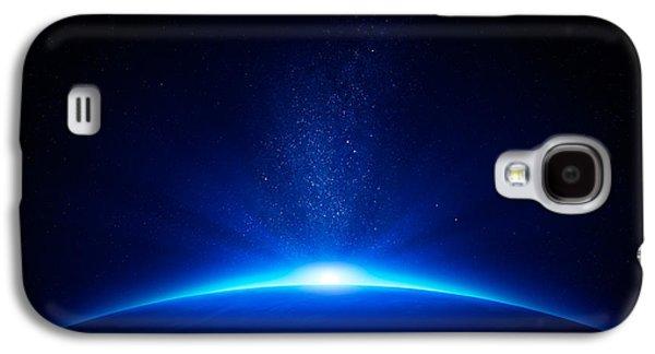 Field Digital Art Galaxy S4 Cases - Earth sunrise in space Galaxy S4 Case by Johan Swanepoel