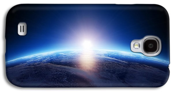 Evening Digital Galaxy S4 Cases - Earth sunrise over cloudy ocean  Galaxy S4 Case by Johan Swanepoel