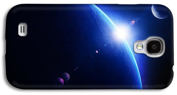 Earth Galaxy S4 Cases - Earth sunrise with moon in space Galaxy S4 Case by Johan Swanepoel