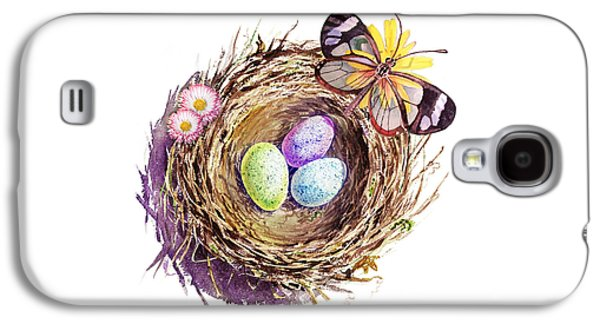Easter Colors Bird Nest Galaxy S4 Case by Irina Sztukowski