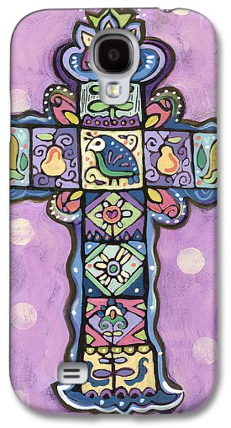 Hand Drawn Galaxy S4 Cases - Easter Cross on Orchid Galaxy S4 Case by Jen Norton
