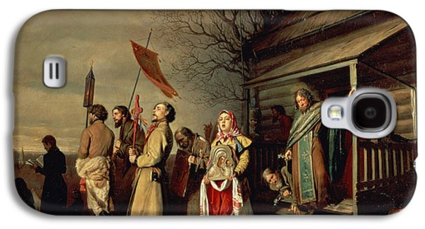 Orthodox Icon Galaxy S4 Cases - Easter Procession, 1861 Oil On Canvas Galaxy S4 Case by Vasili Grigorevich Perov