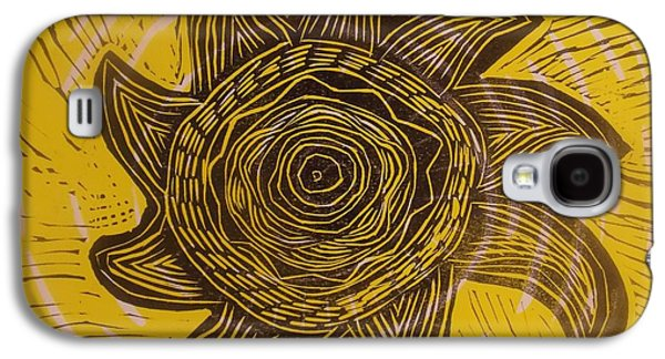 Linocut Drawings Galaxy S4 Cases - Eclipse of the sun in yellow Galaxy S4 Case by Stephen Wiggins