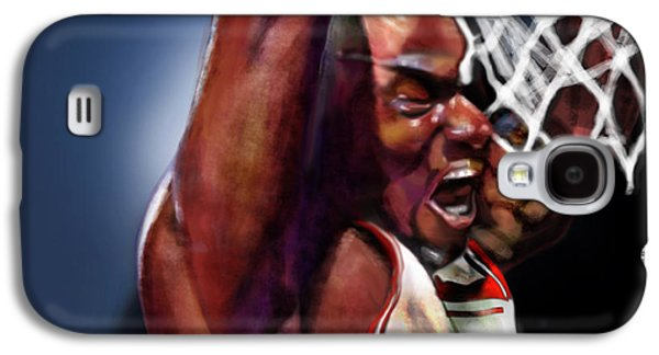 Basket Ball Paintings Galaxy S4 Cases - Eclipsing The Moon - Jordan  Galaxy S4 Case by Reggie Duffie