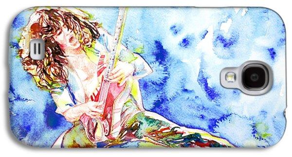 Van Halen Galaxy S4 Cases - EDDIE VAN HALEN PLAYING the GUITAR.1 watercolor portrait Galaxy S4 Case by Fabrizio Cassetta