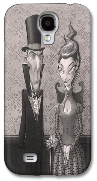 Creepy Drawings Galaxy S4 Cases - Edgar and Larissa Galaxy S4 Case by Richard Moore