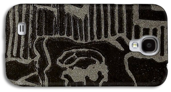 Linocut Paintings Galaxy S4 Cases - Edgar Galaxy S4 Case by Erika Chamberlin