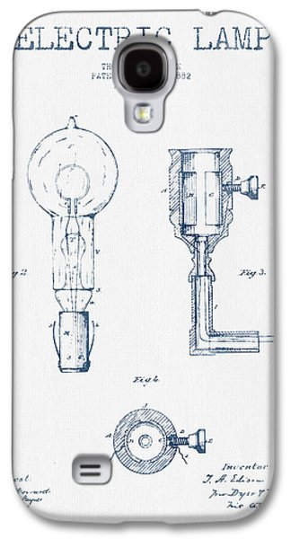 Edison Galaxy S4 Cases - Edison Electric Lamp Patent from 1882  - Blue Ink Galaxy S4 Case by Aged Pixel