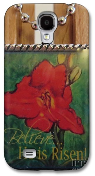 Flower Jewelry Galaxy S4 Cases - The Scarlet Lily Painting with an Inspirational Message in a Necklace Galaxy S4 Case by Kimberlee  Baxter