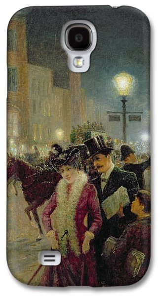 Night Lamp Paintings Galaxy S4 Cases - Edwardian London Galaxy S4 Case by Eugene Joseph McSwiney