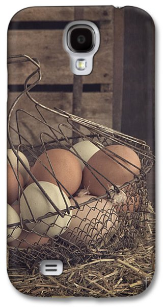 Agricultural Galaxy S4 Cases - Eggs in vintage wire egg basket Galaxy S4 Case by Edward Fielding