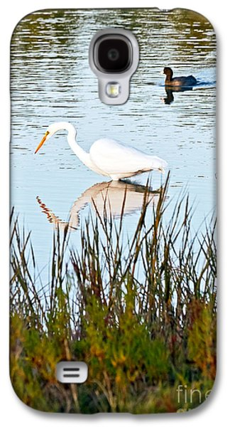 Landmarks Photographs Galaxy S4 Cases - Egret and Coot in Autumn Galaxy S4 Case by Kate Brown
