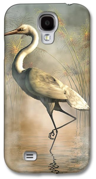 Snowy Digital Art Galaxy S4 Cases - Egret Galaxy S4 Case by Daniel Eskridge